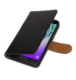 Washed Leer Bookstyle Hoes voor Galaxy A3 Zwart