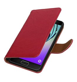 Washed Leer Bookstyle Hoes voor Galaxy A3 Roze