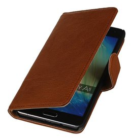 Washed Leer Bookstyle Hoes voor Galaxy A7 Bruin
