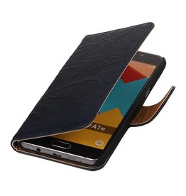 Washed Leer Bookstyle Hoes voor Galaxy A7 Donker Blauw