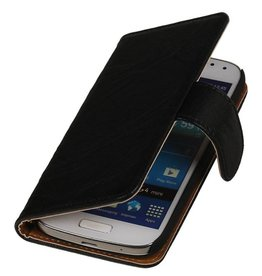 Washed Leer Bookstyle Hoes voor Galaxy S Advance i9070 Zwart