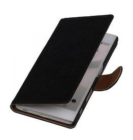 Washed Leer Bookstyle Hoesje voor Sony Xperia T3 Zwart