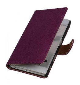 Washed Leer Bookstyle Hoesje voor HTC Desire 500 Paars