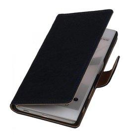 Washed Leer Bookstyle Hoesje voor HTC Desire 310 Donker Blauw