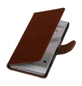 Washed Leer Bookstyle Hoesje voor HTC Desire 210 Bruin