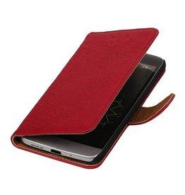 Washed Leer Bookstyle Hoesje voor HTC Desire 210 Roze