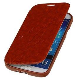 Easy Booktype hoesje voor Galaxy S4 i9500 Bruin