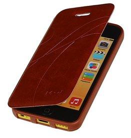 Easy Booktype hoesje voor iPhone 5C Bruin