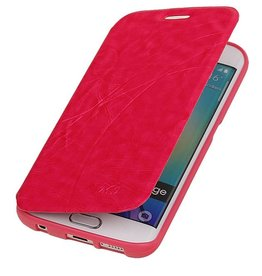 Easy Booktype hoesje voor Galaxy S6 Edge G925 Roze
