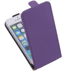 Flip Hoesje voor iPhone 5 / 5s Paars Op=Op Actie!!!