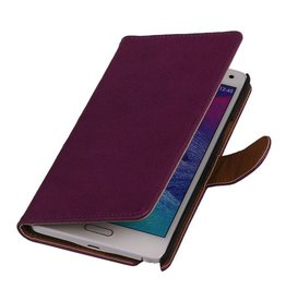 Washed Leer Bookstyle Hoesje voor Galaxy Note 2 N7100 Paars