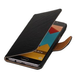 Washed Leer Bookstyle Hoesje voor Galaxy E7 Zwart