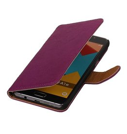 Washed Leer Bookstyle Hoesje voor Galaxy E7 Paars