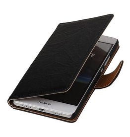 Washed Leer Bookstyle Hoesje voor Huawei Ascend G730 Zwart