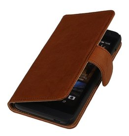 Washed Leer Bookstyle Hoesje voor Huawei Ascend G730 Bruin