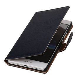 Washed Leer Bookstyle Hoesje voor Huawei Ascend G510 Donker Blauw