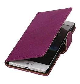 Washed Leer Bookstyle Hoesje voor Huawei Ascend G510 Paars