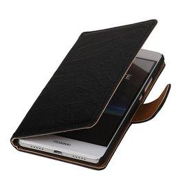 Washed Leer Bookstyle Hoesje voor Huawei Ascend Y320 Zwart