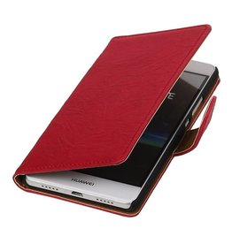 Washed Leer Bookstyle Hoesje voor Huawei Ascend Y320 Roze