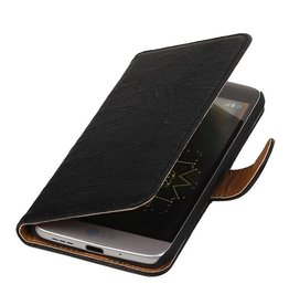 Washed Leer Bookstyle Hoesje voor LG Optimus L7 II P710 Zwart