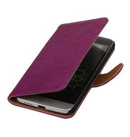 Washed Leer Bookstyle Hoesje voor LG Optimus L9 II D605 Paars