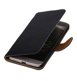 Washed Leer Bookstyle Hoesje voor LG L65 Donker Blauw