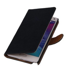 Washed Leer Bookstyle Hoesje voor Galaxy Core LTE G386F Donker Blauw