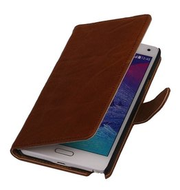 Washed Leer Bookstyle Hoesje voor Galaxy Ace 2 i8160 Bruin