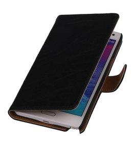 Washed Leer Bookstyle Hoesje voor Galaxy Ace Plus S7500 Zwart