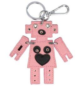 Trendy tas sleutelhanger met een Robot Roze