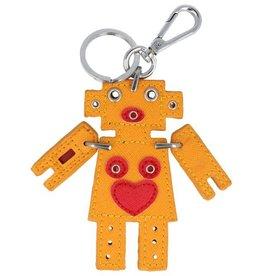 Trendy tas sleutelhanger met een Robot Geel
