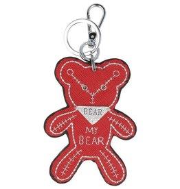 Trendy tas sleutelhanger met een Teddybear Rood