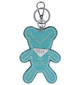 Trendy tas sleutelhanger met een Teddybear Turquoise