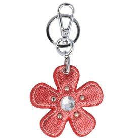 Trendy tas sleutelhanger met een Bloem Rood