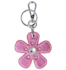 Trendy tas sleutelhanger met een Bloem Roze