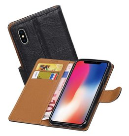Washed Leer Bookstyle Hoesje voor iPhone X Zwart