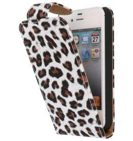 Luipaard Classic Flip Case Hoes voor iPhone 4 Bruin