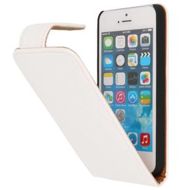 Litchi Classic Flip Case Hoes voor iPhone 5 Wit