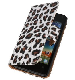 Luipaard Bookstyle Case Hoes voor Huawei Ascend Y300 Bruin