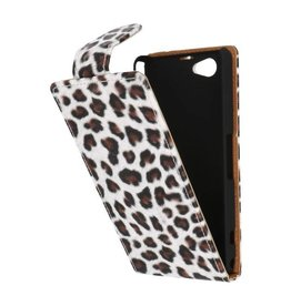 Luipaard Classic Flip Case Hoes voor Sony Xperia Z1 Compact Bruin