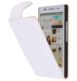 Devil Classic Flip Hoes voor Huawei Ascend P6 Wit