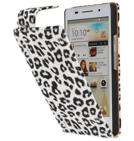 Luipaard Classic Flip Case Hoes voor Huawei Ascend P6 Wit