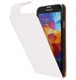 Krokodil Classic Flip Hoesje voor Galaxy S5 Wit