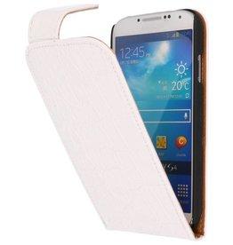 Krokodil Classic Flip Hoes voor Galaxy S4 i9500 Wit
