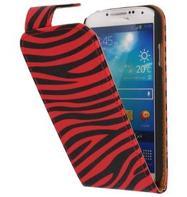 Zebra Classic Flipcase Hoes voor Galaxy S4 i9500 Rood