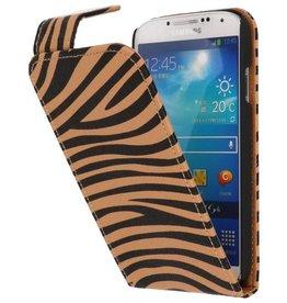 Zebra Classic Flipcase Hoes voor Galaxy S4 i9500 Bruin
