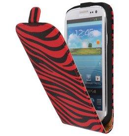 Zebra Flip Hoesje voor Galaxy S3 i9300 Rood