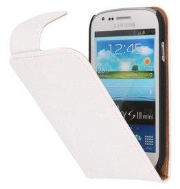 Krokodil Classic Flip Hoes voor Galaxy S3 mini i8190 Wit