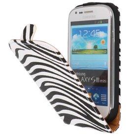 Zebra Flipcase Hoes voor Galaxy S3 mini i8190 Wit