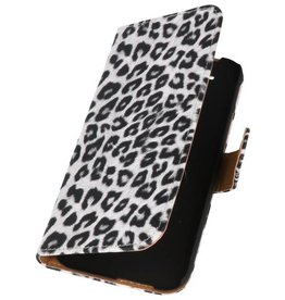 Luipaard Bookstyle Hoes voor HTC One M8 Wit
